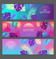 set colorful summer tropical gradient banners vector image