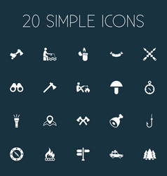 Set of simple tourism icons vector
