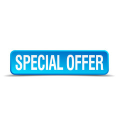 special offer blue 3d realistic square isolated vector image