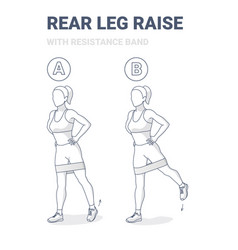 Standing rear leg lift with resistance band home vector