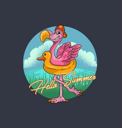 Summer flamingo bird graphic vector