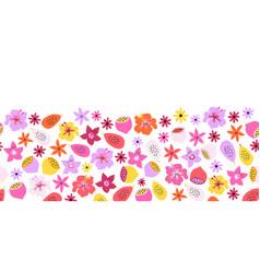 summer fruit flower border seamless pattern vector image