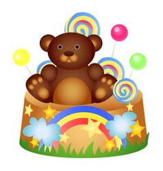 teddy birthday cake icon cartoon style vector image