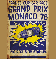 tee ggraphic vintage race car for printing old vector image