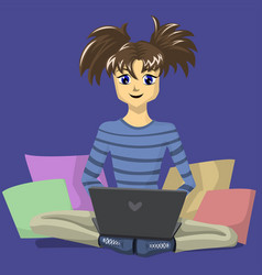 teenage girl sitting on the floor with a laptop vector image