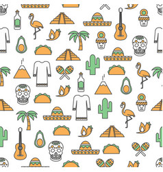 thin line art mexico seamless pattern vector image