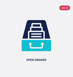 Two color open drawer icon from general concept vector
