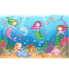 Underwater with mermaids seabed with mythical vector