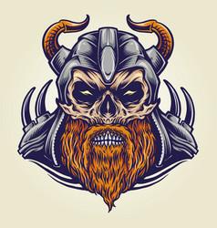 viking military horned helmet vector image