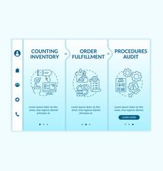 Warehouse procedures audit onboarding template vector