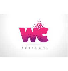 wc w c letter logo with pink purple color and vector image