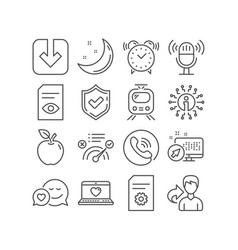 Web love dating and file settings icons train vector