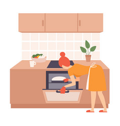 Woman opened oven and looks at dough vector