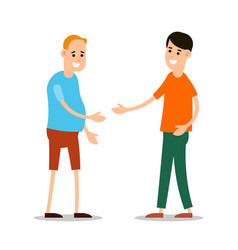 young man standing and greet each other group of vector image