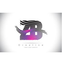 Zb z b zebra texture letter logo design vector