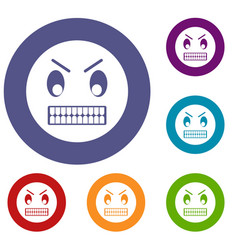 angry emoticons set vector image vector image
