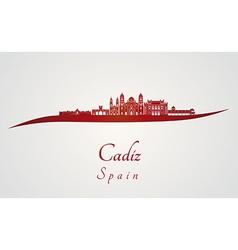 Cadiz skyline in red vector image vector image