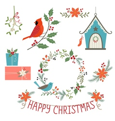 Christmas decorations and birds vector
