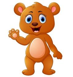 Cute brown bear waving hand vector image