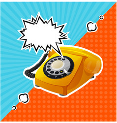 retro yellow phone in comic style with vector image vector image