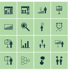 Set of 16 management icons includes planning vector
