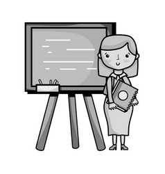 grayscale teacher teaching class lesson in the vector image vector image