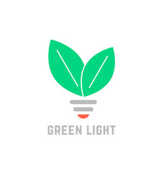 green light with leafs and bulb vector image vector image