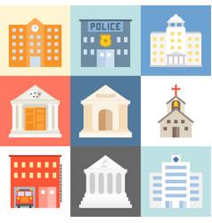 public building icons set flat design vector image