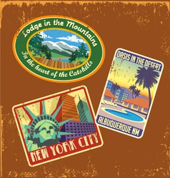 Vintage travel stickers 2 vector