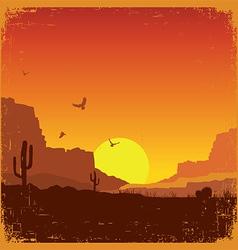 Wild west american desert landscape on old texture vector image
