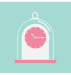 Clock icon with glass cap Flat design Pink face vector image vector image
