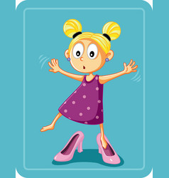 little girl trying on mothers high heel shoes vector image vector image