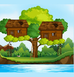 two treehouses on the tree by the river vector image