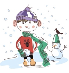 Boy with snowball vector