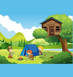 boyscouts camping in the woods vector image vector image