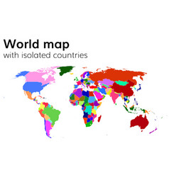 political world map with isolated countries vector image