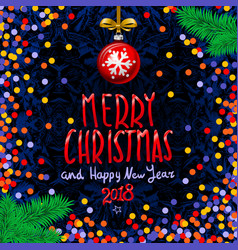 red merry christmas and happy new year 2018 vector image