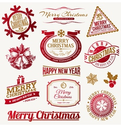 Set of decorative Christmas holidays labels vector image