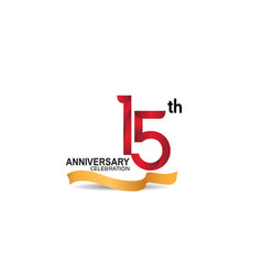 15 anniversary design logotype red color vector