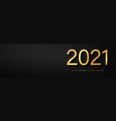 2021 happy new year greeting card gold and black vector image