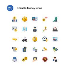 25 money flat icons set isolated on icons set vector