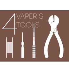 4 one color vaper tools set vector