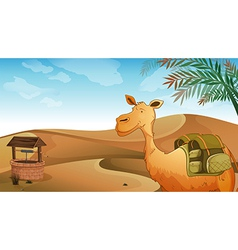 A camel with a well at the desert vector image