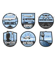 Airport planes flight tickets pilot and aircrew vector