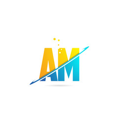 Alphabet letter am a m combination for logo vector