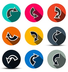 Arrows Set Arrows in Circles Icons Isolated on vector image