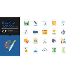 Back to school icons set 2 flat design for vector