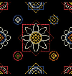 Background cross stitch ornament vector
