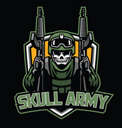 Badge of skull soldier mascot vector