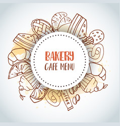 Bakery cafe menu text background sweet pastry vector